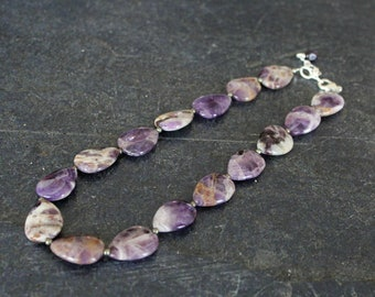 Amethyst Teardrop Necklace, Dogtooth Amethyst Teardrop Beads, Pyrite Beads, February Birthstone, Amethyst Jewelry, Amethyst Necklace