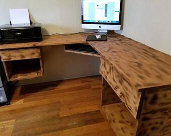 FLOATING computer desk, rustic