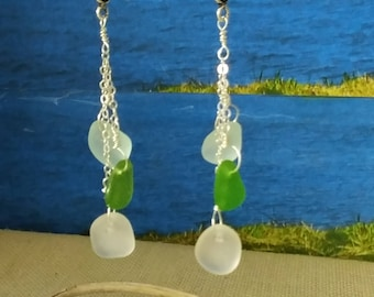 Waterfall earrings of blue, green and frosted white seaglass on sterling silver