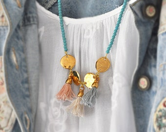 Gold Tassel Necklace - Turquoise Necklace - Tribal Necklace - Fringe Necklace - Multi Tassels Necklace
