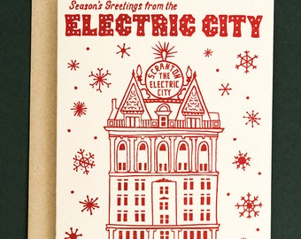 Scranton Electric City Holiday Card, Red