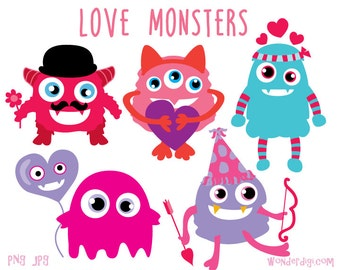 Valentine Clip Art - Valentine's Day Clipart - Love Monsters - Valentine Monsters