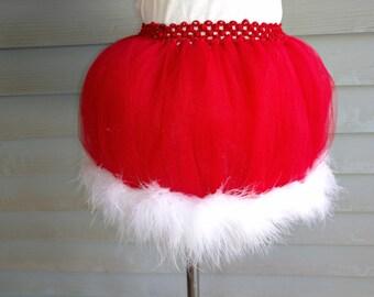 Christmas Tutu - Red Christmas Skirt - Red and White Christmas Skirt - Santa Claus Tutu - Mrs Claus Tutu - Santa Skirt - Mrs Claus skirt