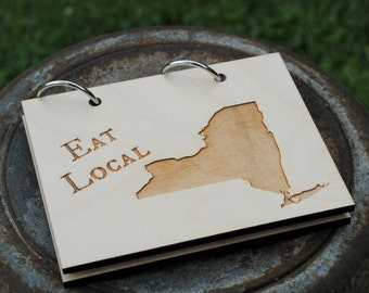 Eat Local ANY STATE or COUNTRY Recipe Card Book Customize with Heart over City Gift for Newlyweds, Wedding, Housewarming Gift, State Love