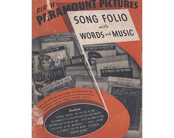 Paramount Pictures Song Book, Song Folio with Words and Music, Fifth Edition, 1940, Vintage Sheet Music