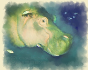 Original Art, 8x10, Swiming with the Fishes, Hippo, Digital Watercolor