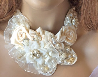 Wedding Choker-Bridal Accessories-Wedding Collar-Brides-Fabric Choker-Ivory-Fabric Wedding Choker-Collar-Brooch-Brides-Bridal Collar-Jewelry
