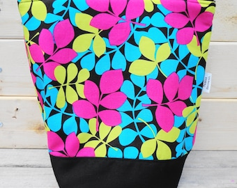 Insulated Lunch Bag - Turquoise, Green, Pink Leaf Print