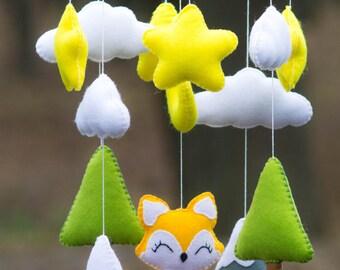 SALE Baby Crib Mobile. Baby Mobile, Nursery mobile, Felt Mountains  fox and Tree, Mountain nursery decor, Cloud stars Mobile, Orange fox