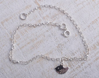 Sterling silver little wee bird sparrow charm chain bracelet sterling silver 925 with bird charm