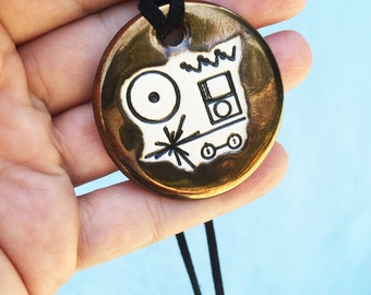 Voyager Gold Record Ceramic Necklace in Bronze Glaze