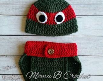 Crochet Ninja Turtle Baby Set, Ninja Turtle Raphael Baby Set, Ninja Turtle Baby Set, Photo Prop Baby Set, Ninja Turtle Costume