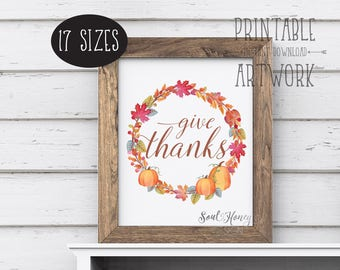 Give Thanks | Fall Leaf Wreath | Seasonal Fall Art | Thanksgiving Print | Watercolor | Printable Quote | Downloadable Prints