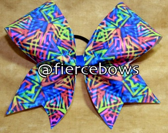 Neon Triangles Cheer Bow