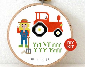 Cross Stitch Kit Farmer. Gift for farmers wife. Modern cross stitch kit including embroidery hoop