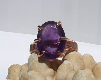 Amethyst Copper Ring, purple faceted oval stone, prong set open back, February birthstone