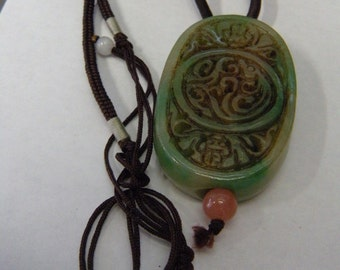 Very Beautiful Chinese Carved Jade Pendant Amulet .