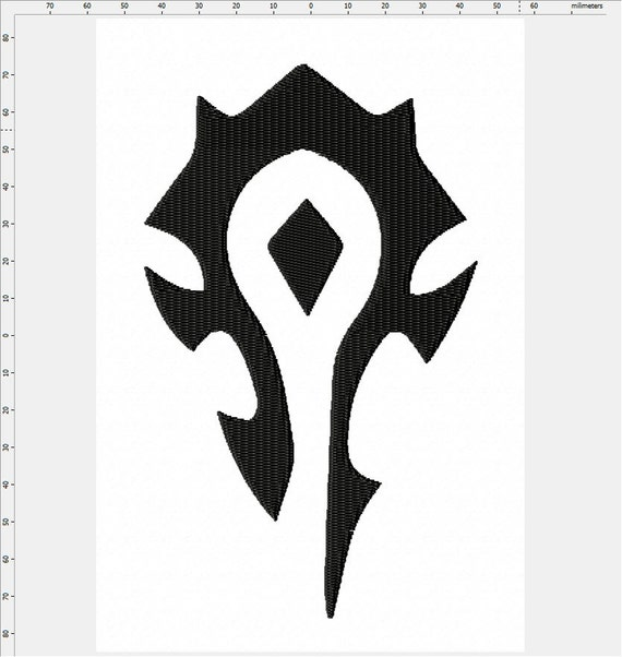 World Of Warcraft Long Horde Symbol Machine Embroidery Design