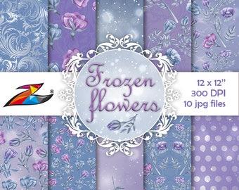 Frozen Digital Paper Blue background Winter digital paper Flower pattern Floral scrapbook paper Christmas bokeh instant download