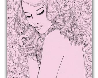 Girl in Roses Floral Botanical A6 Postcard Illustration Print