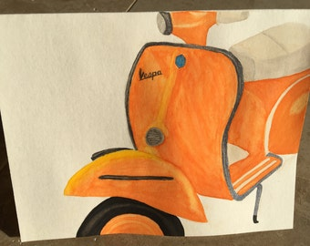 Orange Vespa Scooter Hand Painted Watercolor Greeting Card