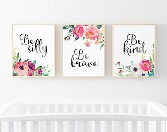 Pink Floral Art, Set Of 3 Quote Prints, Nursery Decor, Floral Prints, Nursery Wall Art, 3 Pack Nursery Print, Watercolor Flowers, Bouquet