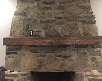 Rustic Faux Barn Wood Mantel
