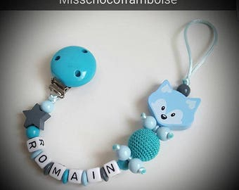 Personalized pacifier clip Fox wooden beads