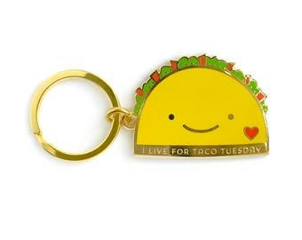 Taco Tuesday Keychain - Key Charm - Taco Lover - Shiny Gold Metal - Kawaii Keychain - EK3105
