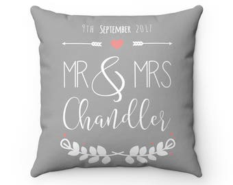 Personalized Name Pillow | Wedding Date Pillow | Custom Wedding Gift | Name and Wedding Date Pillow | Anniversary Gift | Mr & Mrs Pillow