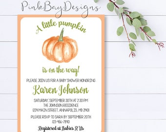 Pumpkin Baby Shower Invitation, Little Pumpkin Baby Shower Invite, Fall Baby Shower, Gender Neutral Shower Invite, Pumpkin Shower Invite