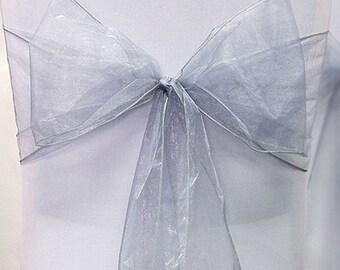 Sliver Organza Chair Sash Bow Wedding Venue Decoration