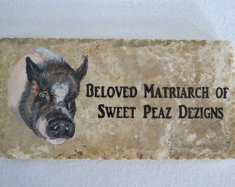 Tribute Stones Original Hand Painted 12 x 6 inches Stone Marker Pet Pig Made to Order by Pigatopia