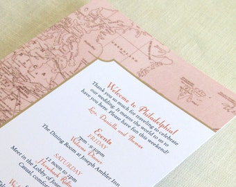 Vintage Map Wedding Itinerary Card - Welcome Bag Card - Destination Travel Events Card - Custom Colors