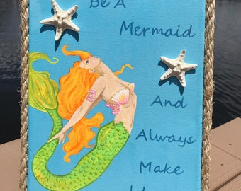 Mermaid Quote Wall Art / Mermaid Pictures / Mermaid Art / Mermaid Bathroom / Mermaid Wall Art / Mermaid Nursery / Coastal Wall Decor