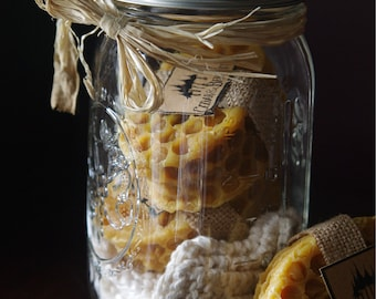 Gift jar with two handmade soaps and hand knit washcloth