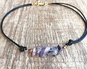 Purple Flourite Leatherette Choker Necklace