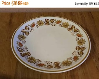 On Sale Mikasa Cera Stone Eastwood D1874  12.25 inch Large Dinner Plate or Platter Collectible Kitchen Serving Plate with  Brown and Orange