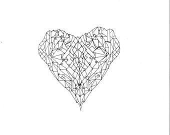 Geometric Heart Print/Love/ Black and White/ Downloadable/prints/wall art/ coloring