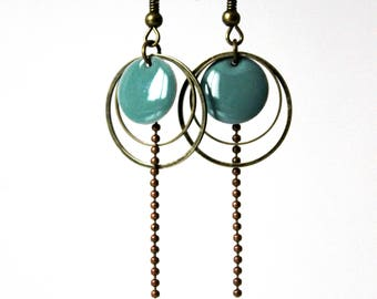 Earring enameled Sequin verdigris Bronze rings