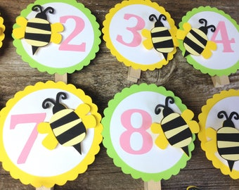 Bumble Bee Party First Year Photo Clips - First Year Banner, Spring Party, Birthday Party, First Birthday, Bumble Bee Party