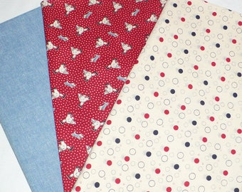 FQ Bundle, Clowns, Dots, Chambray, Red, Blue, Cream, OOP quilt fabric, Marcus Brothers, Vintage fabric