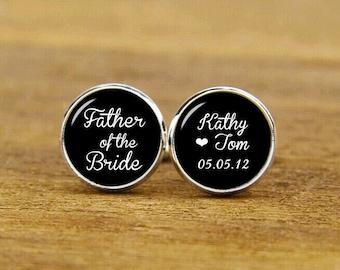 Fahte Of The Bride, Wedding Cufflinks, Custom Name And Date, Heart Cuff Links, Custom Any wording, Groomsman, Groom Cufflinks & Tie Clips