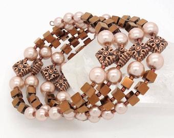 Copper Bracelet Copper Memory Wire Bracelet Bronze Bracelet Cream Bracelet Copper Wrap Bracelet Copper Beaded Bracelet Hematite Bracelet