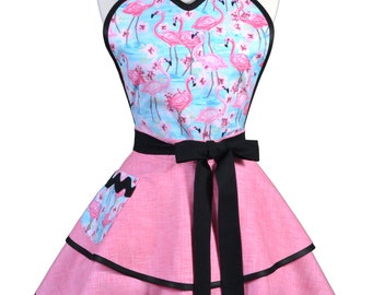 Flirty Pinup Apron - Womens Tropical Pink Flamingos Kitchen Apron - Sexy Cute Sweetheart Apron with 2 Skirts and Pocket - Monogram Option