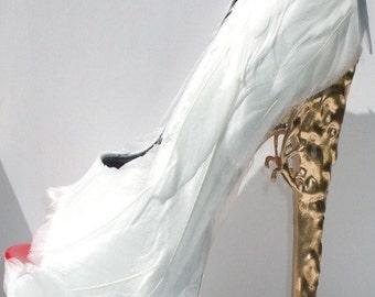 White Feather Pumps w/ Brocade Heel