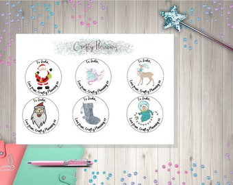 Personalised Christmas Labels Stickers Customisable Xmas