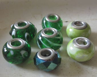 7 Green Large Hole Glass Beads