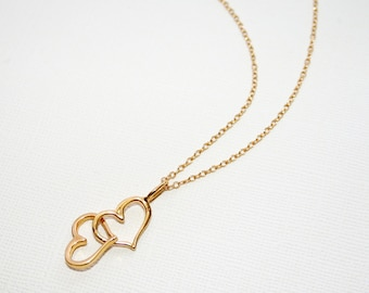 Linked Hearts Necklace in Sterling Silver (18k Yellow Gold Plating), Heart Jewelry, Love Necklace, Valentines Gift