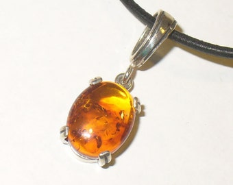 Baltic Amber Necklace - Beautiful Cabochon In Solid Sterling Silver